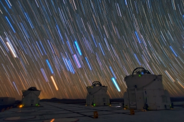Star trails over VLTI Auxiliary Telecopes