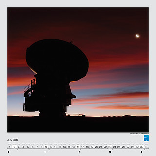 July – The crescent Moon over an ALMA antenna