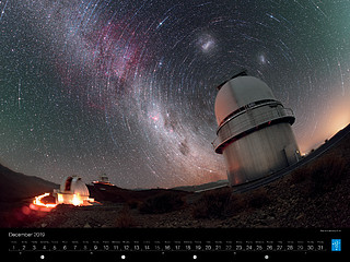 December - Star trails above La Silla