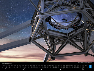 November - Rendering of the M2 mirror in position on the ELT telescope