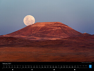 February - Supermoon rising behind Cerro Armazones