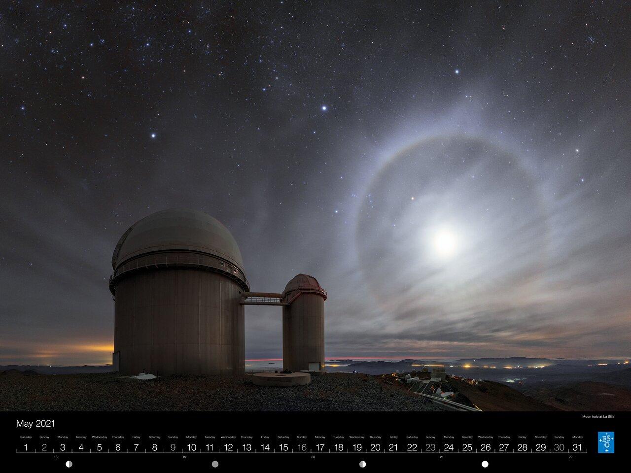 May - Moon halo at La Silla