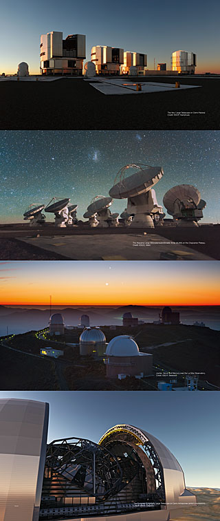 The four ESO Observatories Exhibition Panel (90 x 213 cm, English)