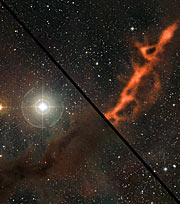 Mouseover comparison of a star-forming filament in Taurus seen at millimetre-range wavelengths and in visible light