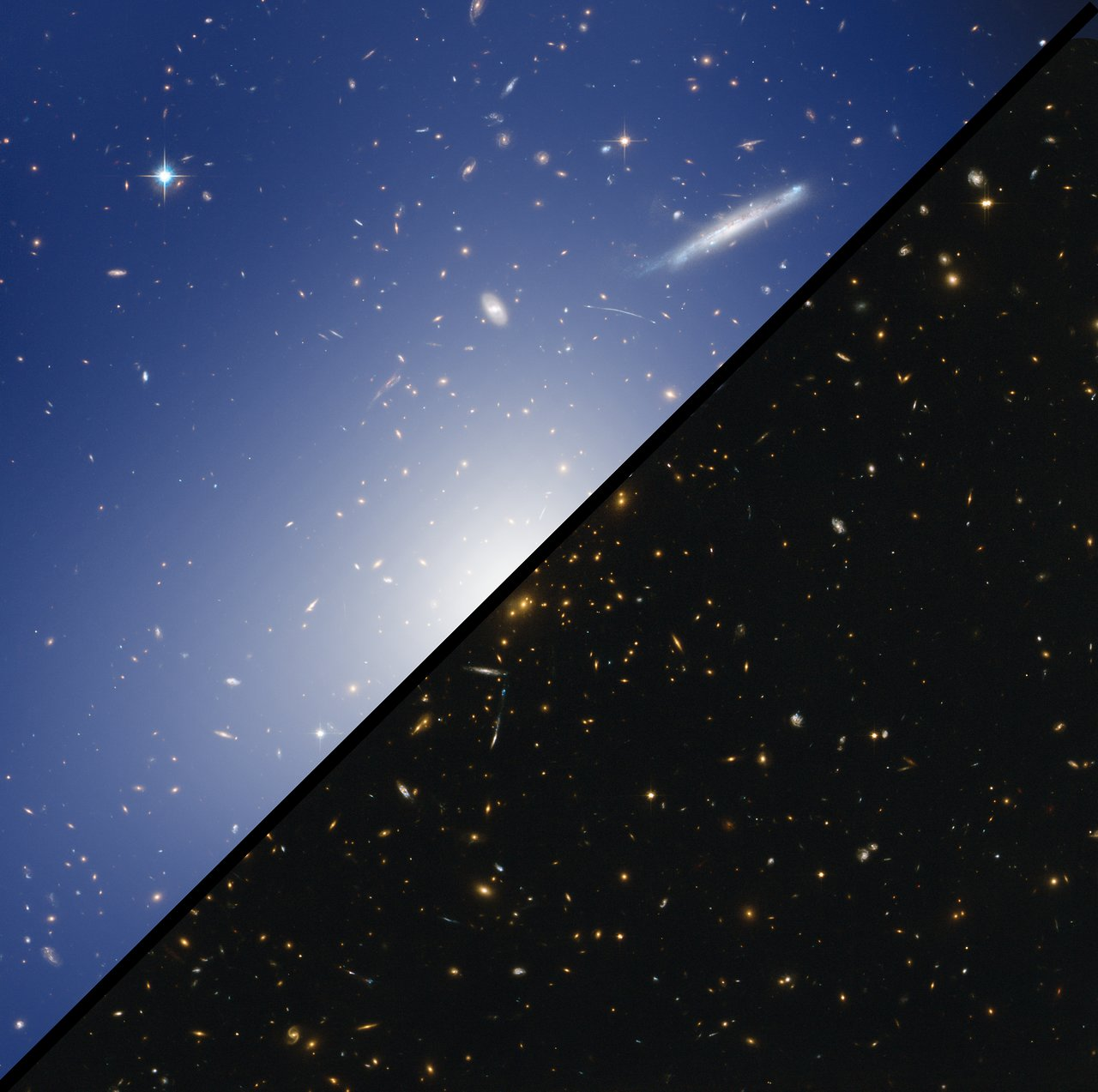 Comparison image: HAWK-I and Hubble Explore a Cluster with the Mass of two Quadrillion Suns