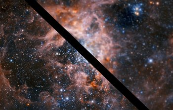 Slider comparison image of the Tarantula Nebula with and without adaptive optics