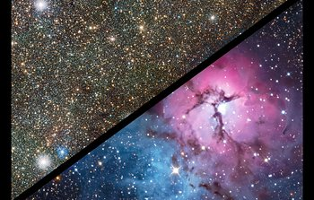Slider comparison of the Trifid Nebula in visible and infrared light