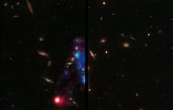 Slider comparison of the galaxy group COSMOS-Gr30 seen with Hubble and MUSE