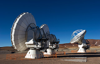 The first ALMA antennas on Chajnantor