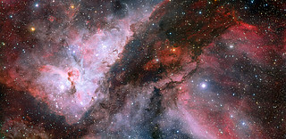 Panoramic view of the WR 22 and Eta Carinae regions of the Carina Nebula