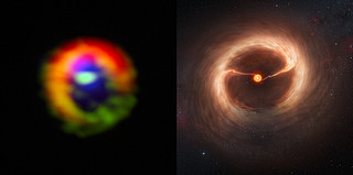 Side-by-side comparison of ALMA observations and artist's impression of the disc and gas streams around HD 142527