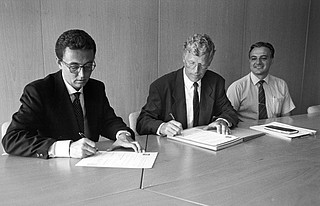 Harry Van Der Laan Signing a Contract