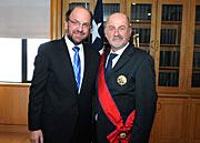 O Ministro dos Negócios Estrangeiros chileno, Alfredo Moreno, com Massimo Tarenghi