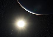 El sistema planetario alrededor del la estrella HD 10180 similar al Sol (impresión artística)