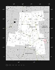 L'ubicazione dell'ammasso di galassie di Ercole