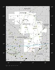 Barnard 59, uma nebulosa escura na constelação de Ofiúco