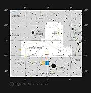 La Nebulosa de La Gaviota entre las constelaciones de Monoceros y Canis Major