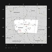 Vetrarbrautaparið NGC 1316 og NGC 1317 í stjörnumerkinu Ofninum