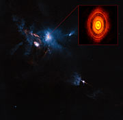 Composición hecha con datos de ALMA/Hubble: región que rodea a la joven estrella HL Tauri