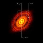 Imagen obtenida por ALMA de la joven estrella HL Tauri (con anotaciones)