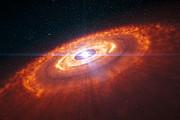 Ilustración de una estrella joven rodeada por un disco protoplanetario