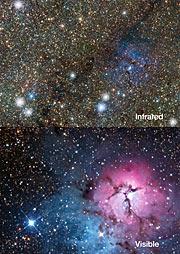 Comparación de imágenes en el infrarrojo y el visible de la nebulosa Trífida