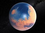 Ilustración de Marte hace cuatro mil millones de años