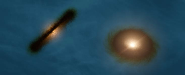 La impresión artística muestra a una asombrosa pareja de discos de gas con formación de planetas violentamente desalineados y rodeando a las dos estrellas que forman el sistema binario HK Tauri.