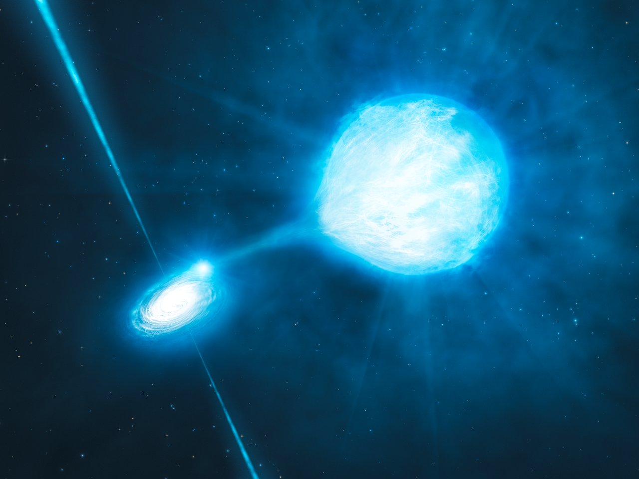 Binary system with an accretion disk around a stellar-mass black hole being fed by material from the companion star.