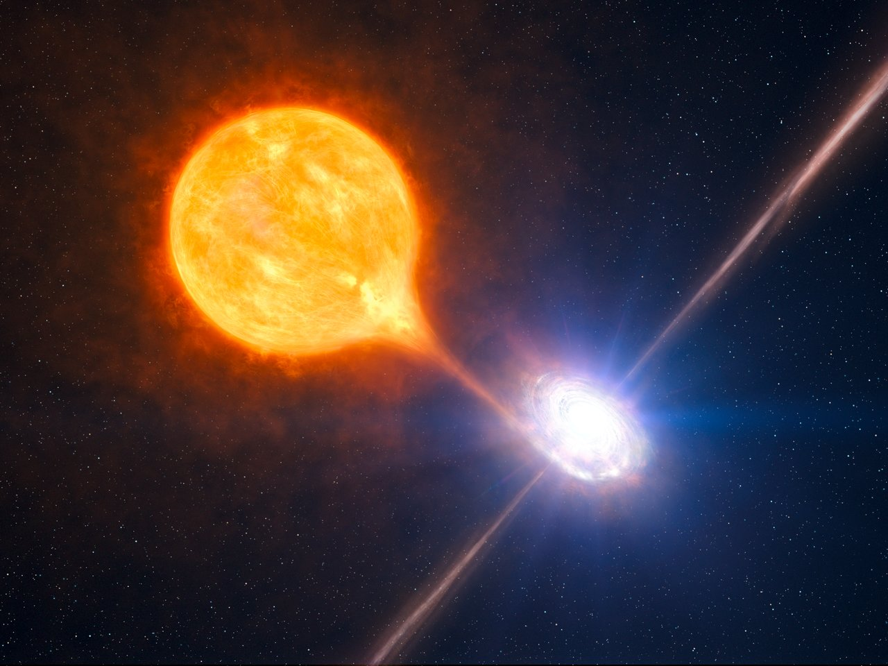 Artist's impression of the formation of a stellar black hole in a binary system.