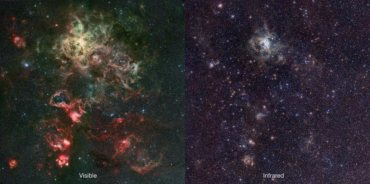 Infrared Visible Light Comparison View Of The Helix Nebula: Infrared/visible Comparison Of The VISTA Tarantula Nebula