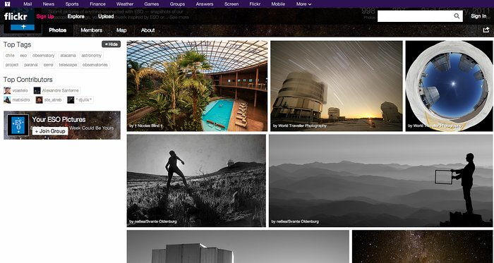"""Screenshot of the """"Your ESO Pictures"""" Flickr Group"""