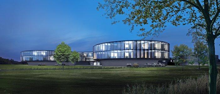 Rendu architectural de la nouvelle extension du Siège de l'ESO (de nuit)