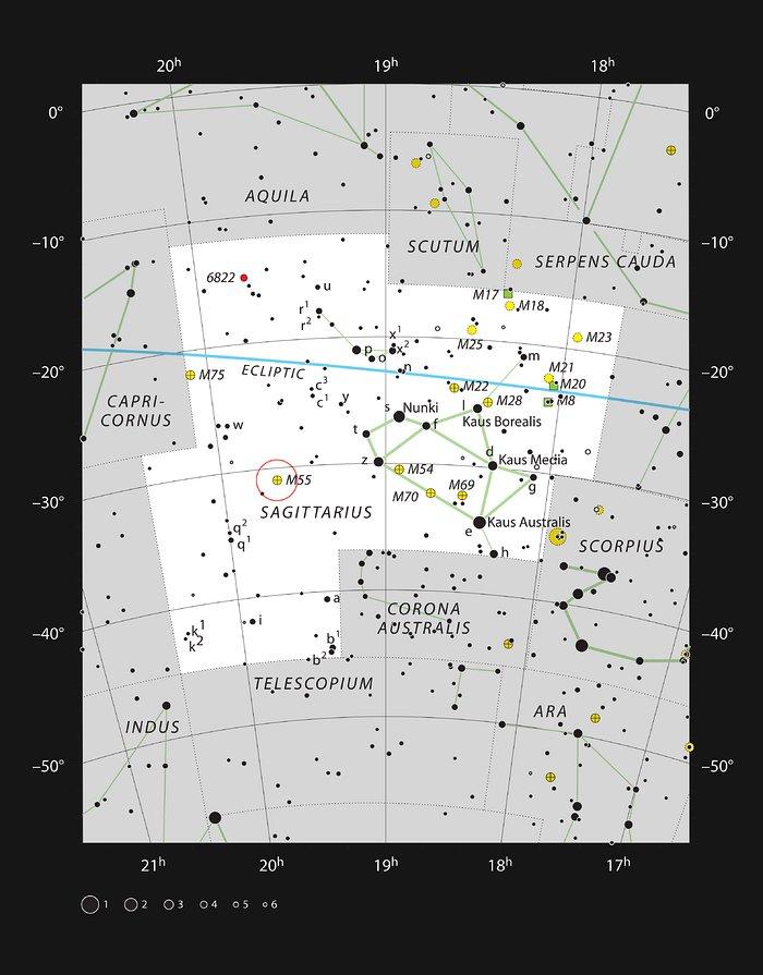 Pallomainen tähtijoukko Messier 55 Jousimiehen tähtikuviossa