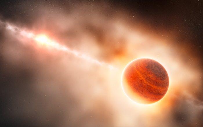 Impresión artística de un planeta gaseoso gigante formándose en el polvo que rodea a la joven estrella HD 100546