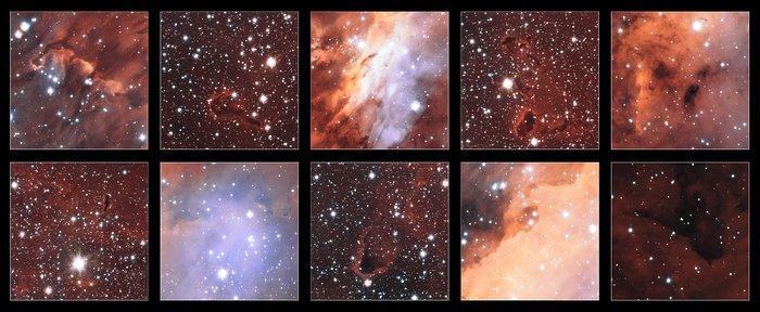 Ausschnitte aus dem Bild des Garnelennebels vom VST der ESO