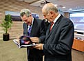 The President of Austria, Heinz Fischer is presented with the book Europe to the Stars