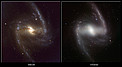 Comparison of visible-light and infrared images of the galaxy NGC 1365
