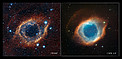 Infrared/visible light comparison view of  the Helix Nebula