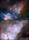 Infrared/visible-light comparison of the Carina Nebula