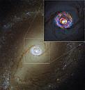 La cercana galaxia activa NGC 1433 por ALMA y Hubble