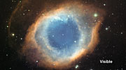 An infrared/visible light comparison of views of the Helix Nebula