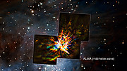 Comparison of the ALMA and VLT views of an explosive event in Orion
